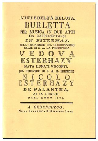 Cover of original libretto to infedelta delusa