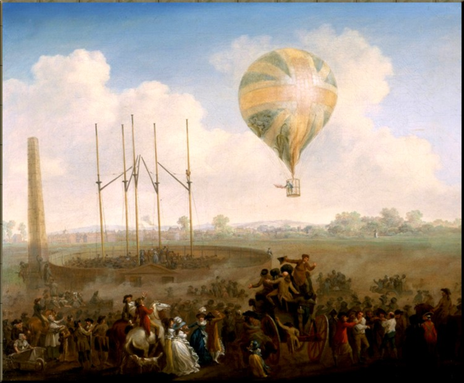 1788 The Ascent of Lunardi's Ballon from St Georges Field  J. C. Ibbetson