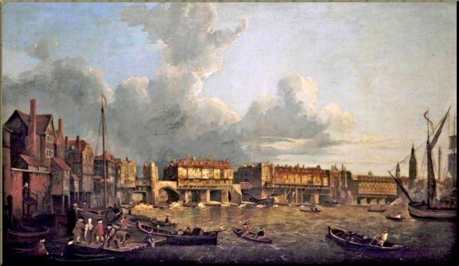 1791 The Old London Bridge c. 1790  by Samuel Scott
