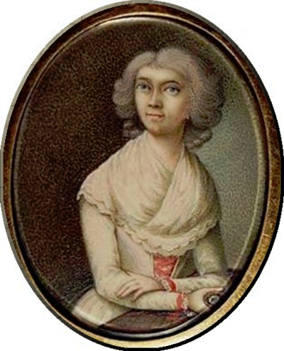 1792 A miniature said to be of Anna Haydn attributed to Ludwig Guttenbrunn