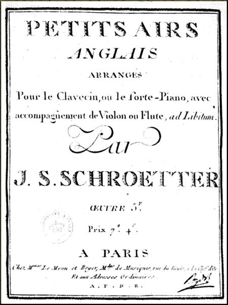 1792 JS Schroeter 12 Favorite Scottish Airs 1777 Paris