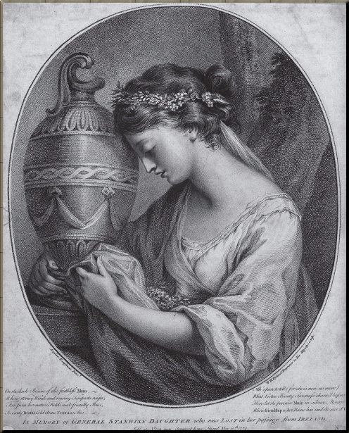 1794 Anne Home as The Pensive Muse, before her marriage to John Hunter. Engraving by W. W. Ryland, after a lost portrait by Angelica Kauffman, 1767