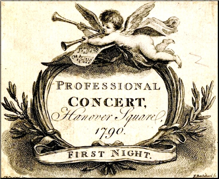 1794 Black Ticket for Professional Concerts eng. Bartolozzi