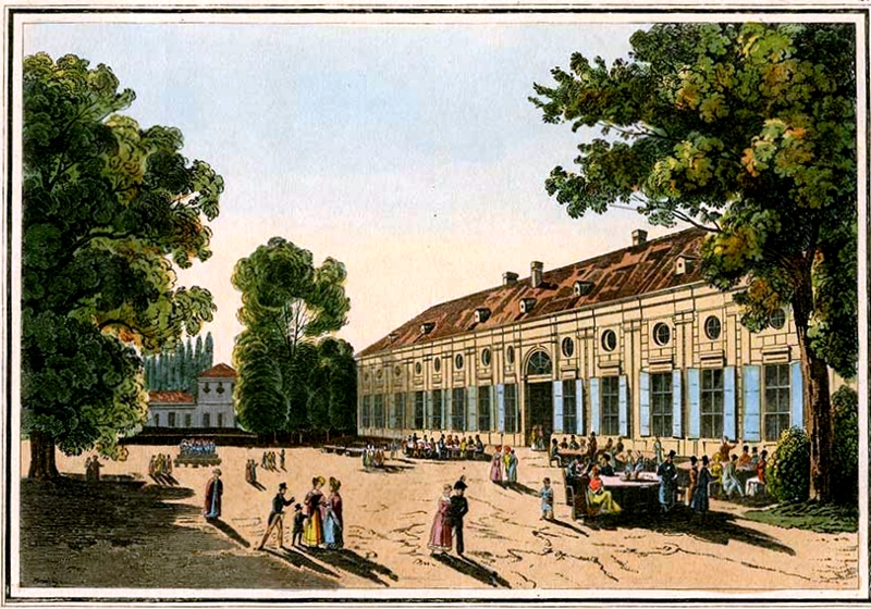 1795 The Augarten Restaurant in Vienna around 1800 Artaria print