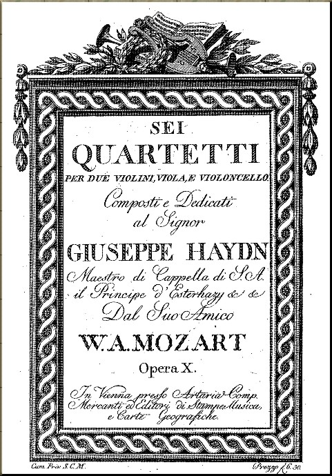 1785 Title Page of Haydn Quartets from Artaria 1st edition