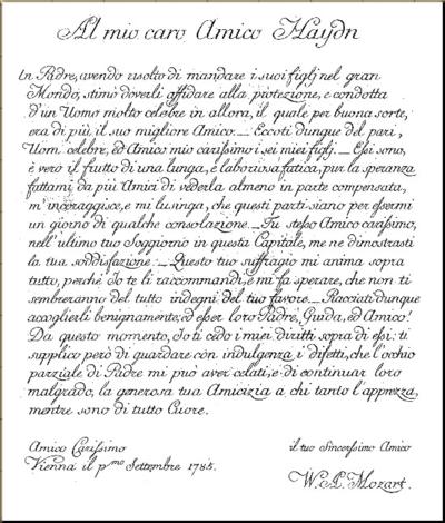 1785 Dedication of Haydn Quartets from Artaria edition