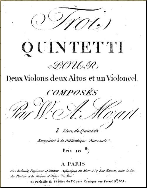 1788 Mozart Quintets score Imbault Paris date unk