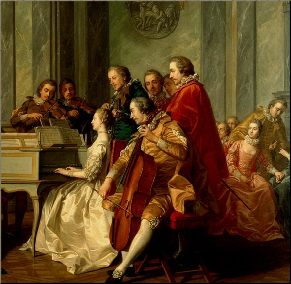 1788 detail from 'Spanish Concert' by Louis-Michel van Loo