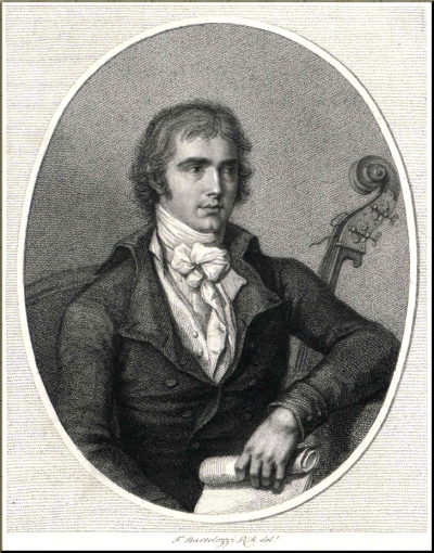 1795 Bartolozzi Engraving of Domenico Dragonetti sm