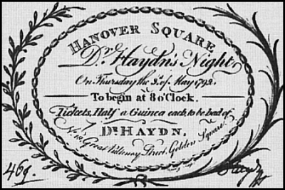 1792  Haydn concert ticket
