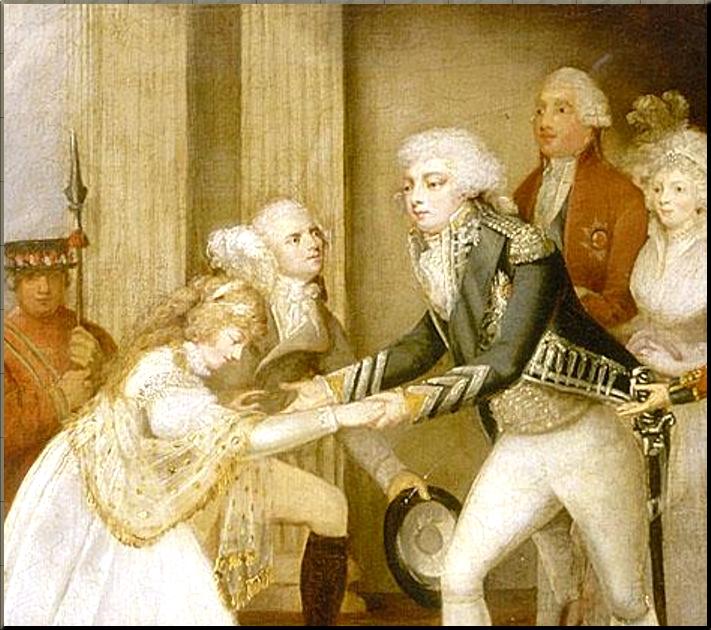 1795 Reception of princess Caroline Amalie of Brunswick at Carlton House  closeup
