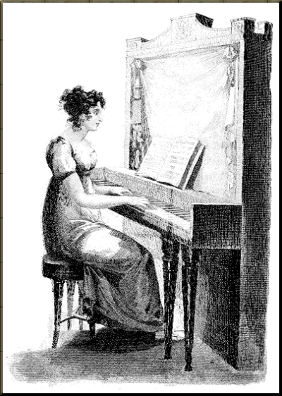 1796 Regency drawing of young lady playing pianoforte