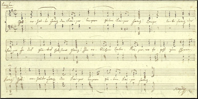 1797 autograph of Gott erhalte
