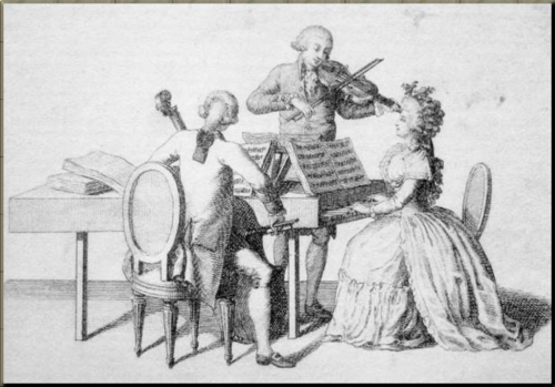 1785 Illustration on title page of  Haydn's piano trio Hob XV 10 Artaria Op 80 1798