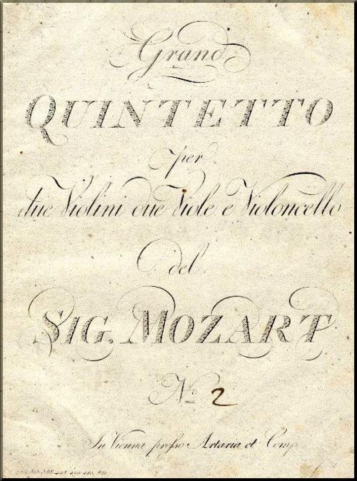 1790 Mozart Quintet in g Artaria 1st edition