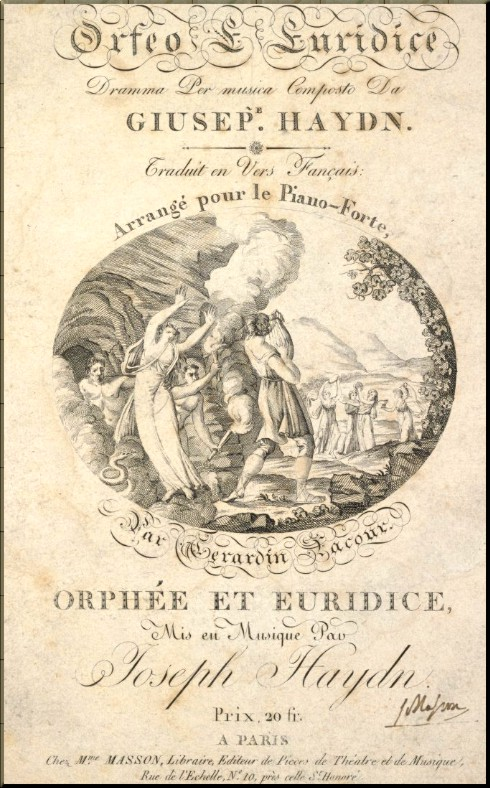 1791 Orfeo front page of 1805 vocal score