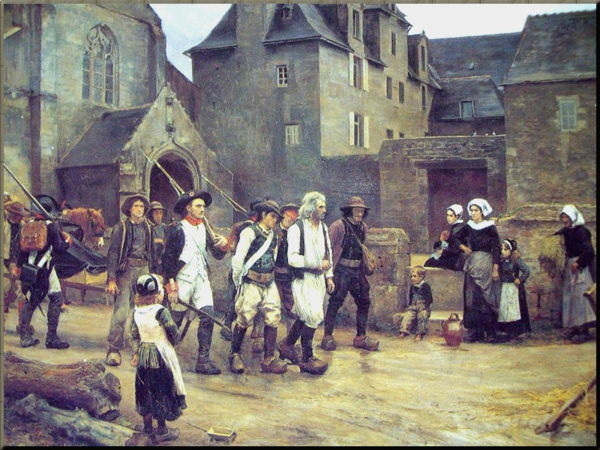 1792 Soldiers of the Garde nationale of Quimper escorting royalist rebels in Brittany (1792). Painting by Jules Girardet
