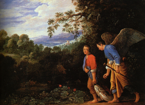 Tobias and Raphael bringing back the fish Adam Elsheimer c1610