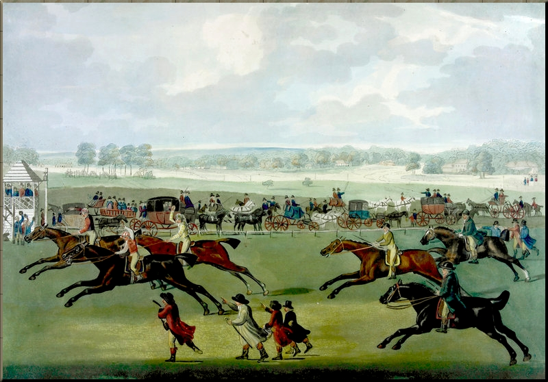 Contemporary illustration by John Nost Sartorious of the Oatlands Sweepstake, Ascot 28 June 1751