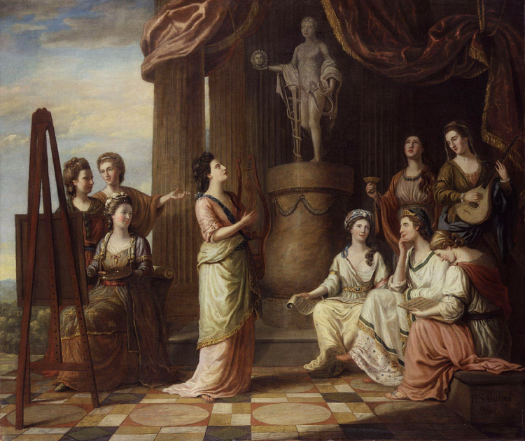1794 Portraits in the Characters of the Muses in the Temple of Apollo by Richard Samuel