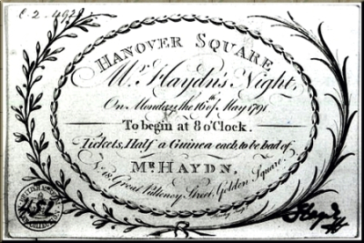 1791 Haydn concert ticket sm