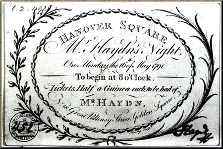 1791 Haydn concert ticket sm