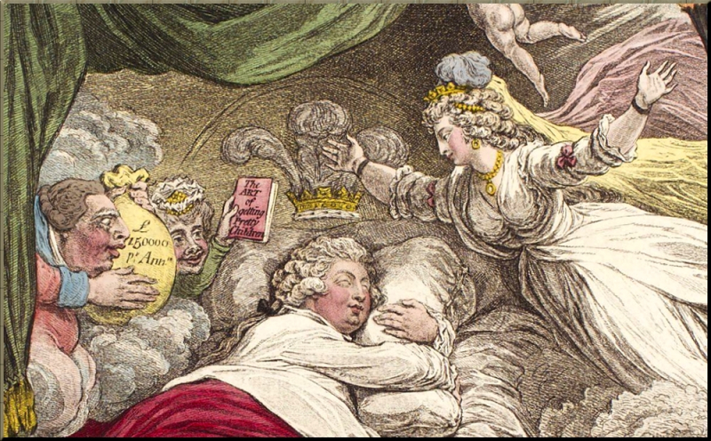 1795 The lover's dream by James Gillray sm