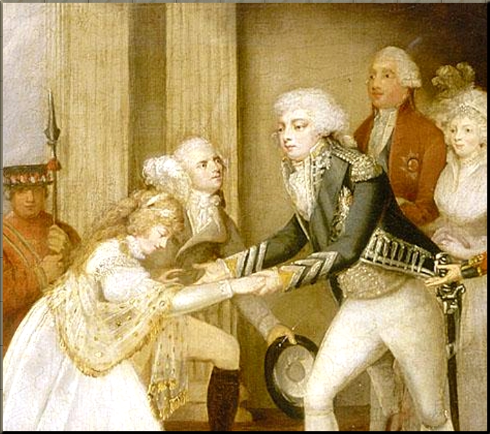1795 Reception of princess Caroline Amalie of Brunswick at Carlton House  closeup