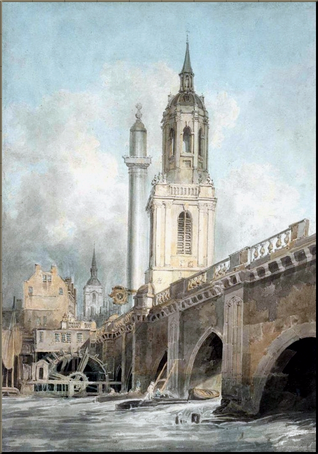 London Bridge  Monument & Church of St Magnus King & Martyr by J.M.W. Turner c. 1795 sm