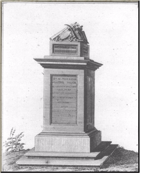 1795 Haydn's monument as it was in 1800 AmZ article by Rochlitz