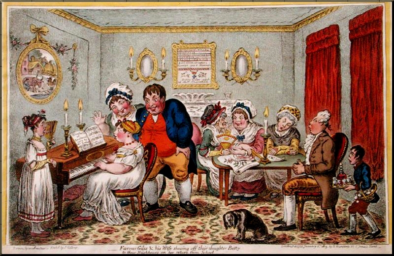1796 Farmer Giles & Wife Showing Off Their Daugher on Her Return From School Gillray 1806