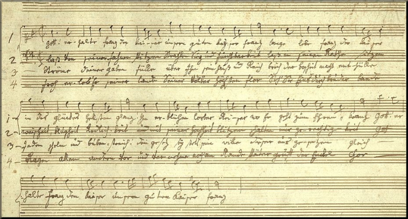 1797 Autograph sketch Haydn_Kaiserlied_Skizze
