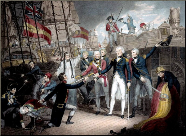 1797 Nelson receiving the surrender of the San José at the Battle of Cape St Vincent  14 February 1797 by Daniel Orme  painted 1799