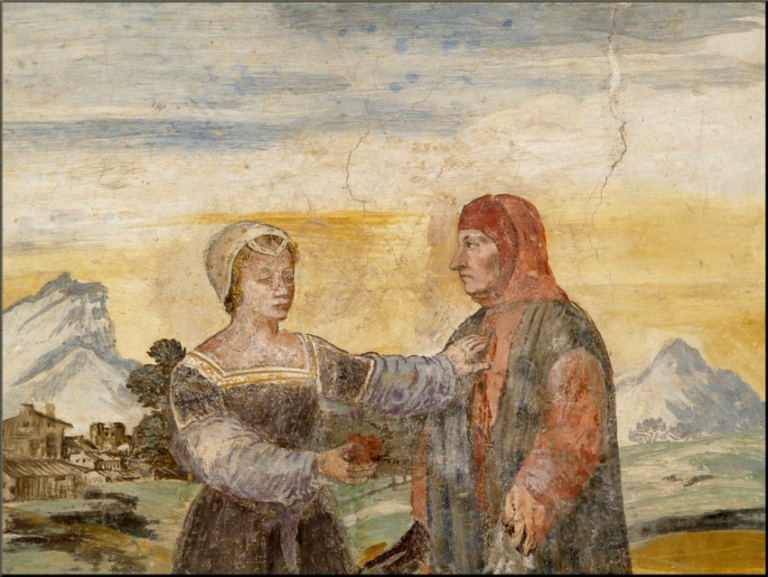 1798 Petrarch and Laura in a fresco in the Petrarch house