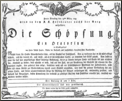 1799 Handbill for premiere of Die Schoepfung