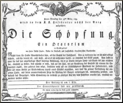 1799 Handbill for premiere of Die Schoepfung